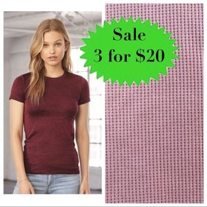 BELLA SEAMLESS pink waffle TEE shirt TOP stretchy